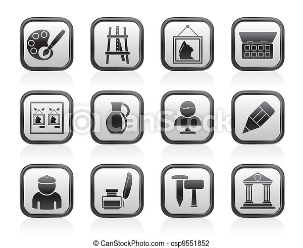 Fine art objects icons - csp9551852