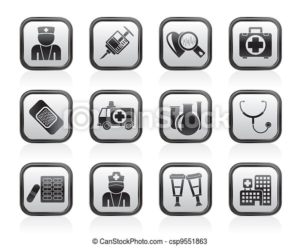 Medicine and healthcare icons - csp9551863