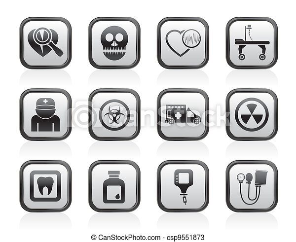 Medicine and hospital icons - csp9551873