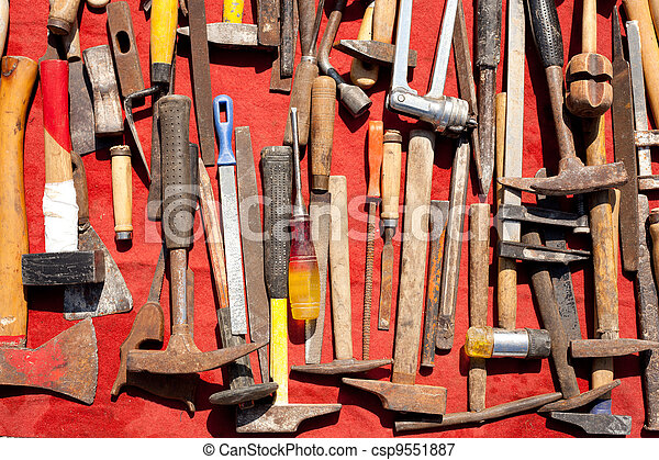 hand tools used rusty iron aged and grunge - csp9551887