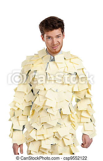 The young man covered with yellow sticky notes - csp9552122