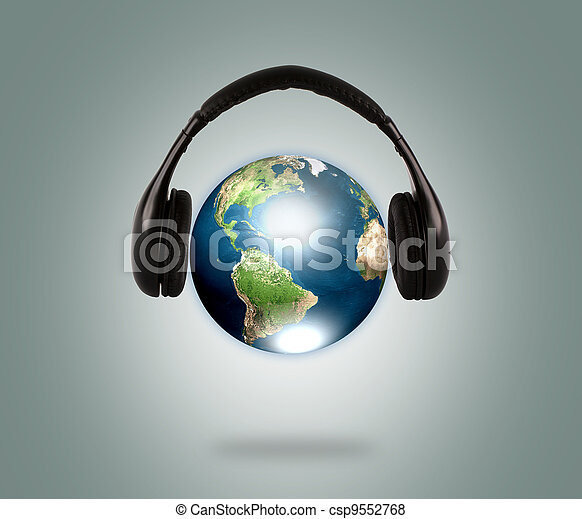 Earth with headphone  (Elements of this image furnished by NASA) - csp9552768
