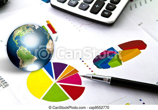 Pen and business graph with earth (Elements of this image furnished by NASA) - csp9552770
