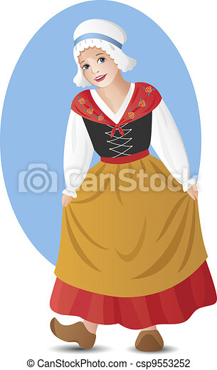 French girl in national costume - csp9553252