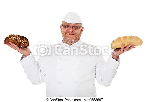 Baker presents bread - csp9553697