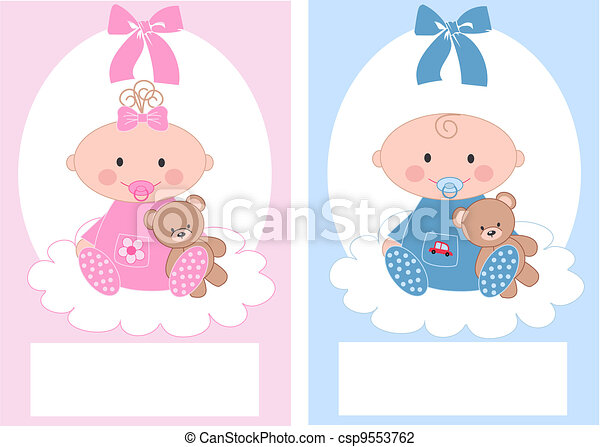 newborn baby boy and baby girl - csp9553762