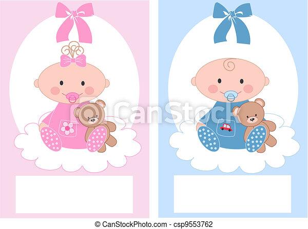 newborn baby boy and baby girl - csp9553762