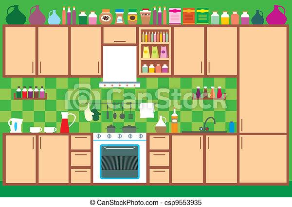 Clipart vectorial de interior muebles cocina vector for La cocina de dibujos pdf