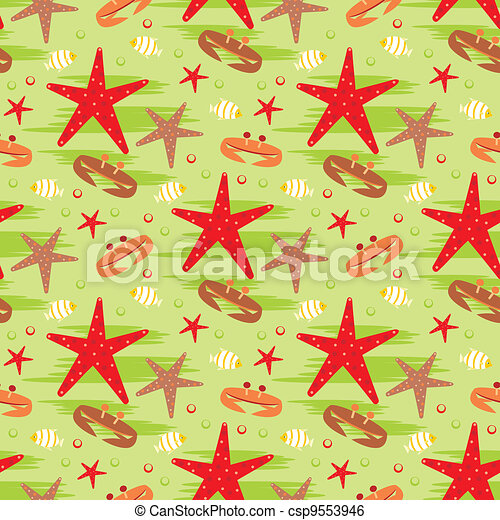 Seamless crabs and starfishes patte - csp9553946