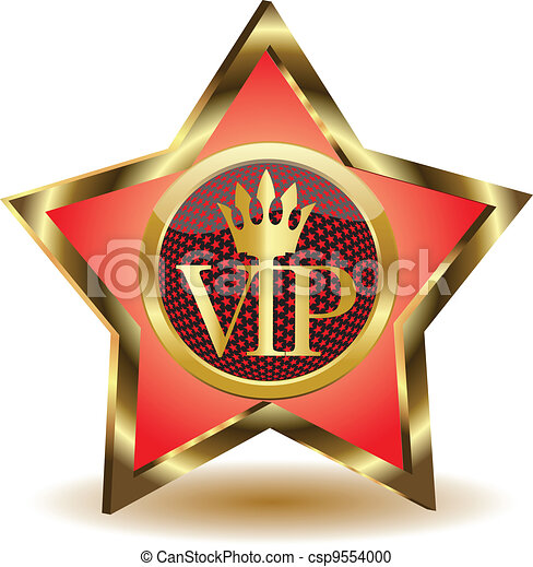 Gold star with a VIP.Vector - csp9554000