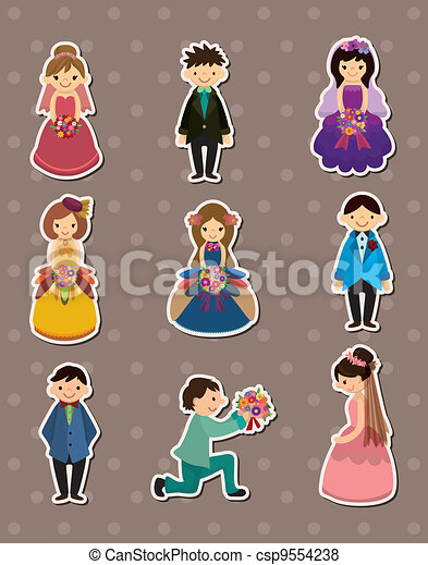 Wedding ceremony - bride and groom stickers - csp9554238