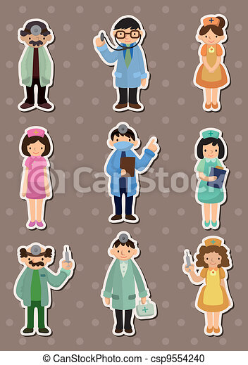 cartoon doctor and nurse  stickers - csp9554240