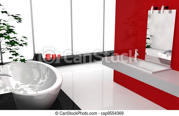 stock illustration von badezimmer modern luxus modern luxus badezimmer mit csp9554369. Black Bedroom Furniture Sets. Home Design Ideas