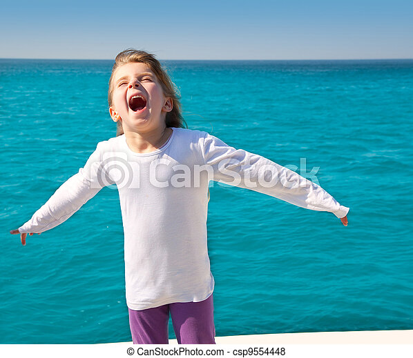 excited kid girl sailing in a boat open arms - csp9554448