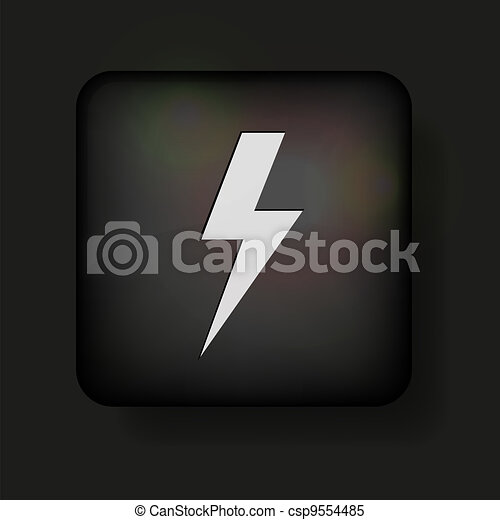 Vector lightning bolt icon on black. Eps10 - csp9554485