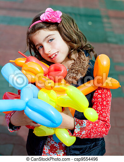 balloon twisting art children happy - csp9554496