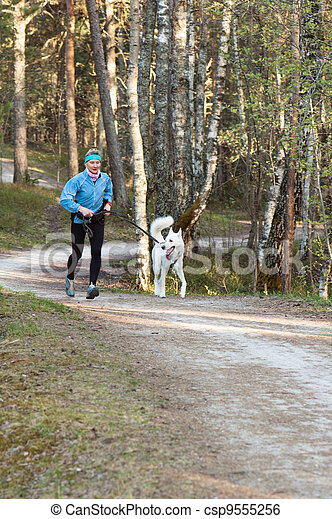 The sports woman with a dog run  in park - csp9555256
