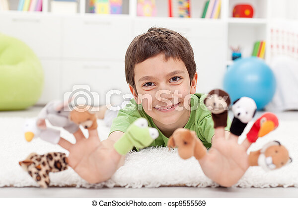 Boy with finger puppets - csp9555569