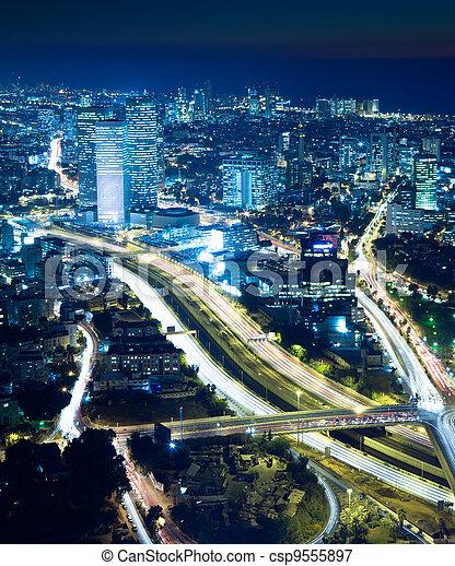 Cityscape at night - csp9555897