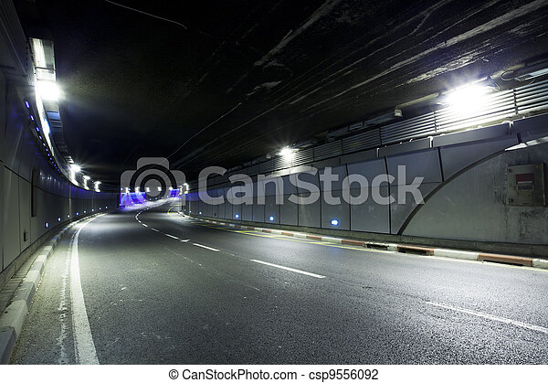 Tunnel  - Urban highway road tunnel - csp9556092