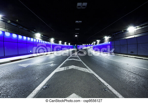 Tunnel  - Urban highway road tunnel - csp9556127
