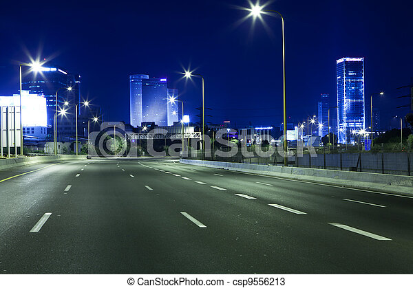 Highway at Night - csp9556213