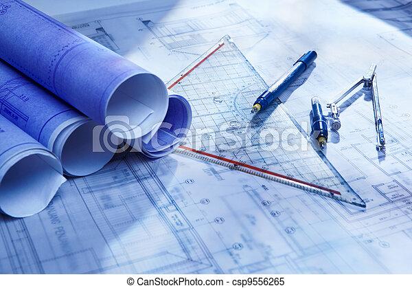 skrivbordsarbete, arkitektur - csp9556265