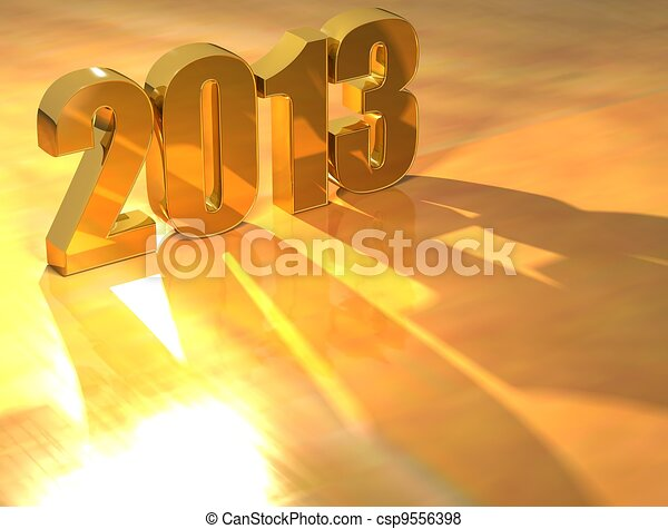 3D 2013 Gold text  - csp9556398