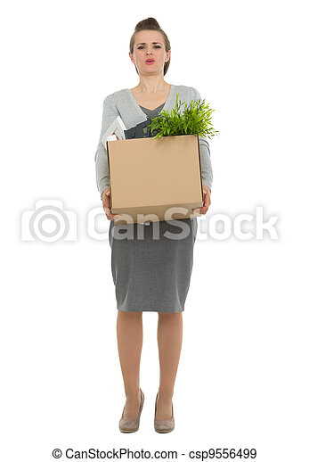 Tired woman employee dragging box with personal items - csp9556499