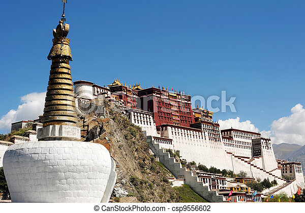 Landmark of the famous Potala Palace in Lhasa Tibet - csp9556602