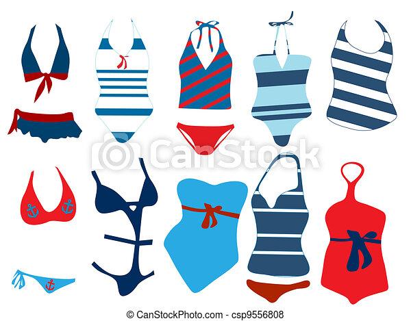 Vecteur de diff rent maillot de bain vecteur illustration de csp9556808 recherchez - Dessin de maillot de bain ...