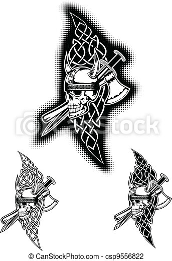 skull in helmet and Celtic patterns - csp9556822
