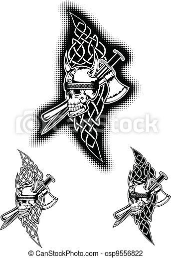 skull in helmet and Celtic patterns - csp9556822