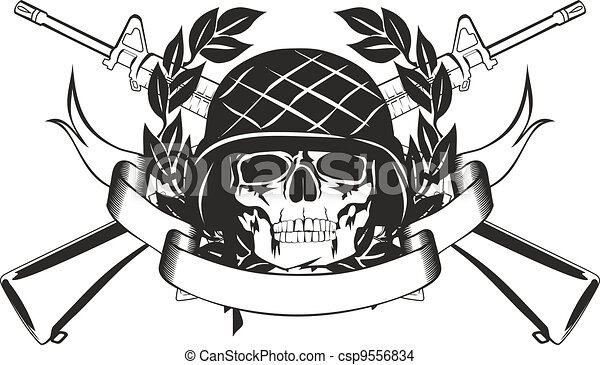 skull in the military helmet - csp9556834