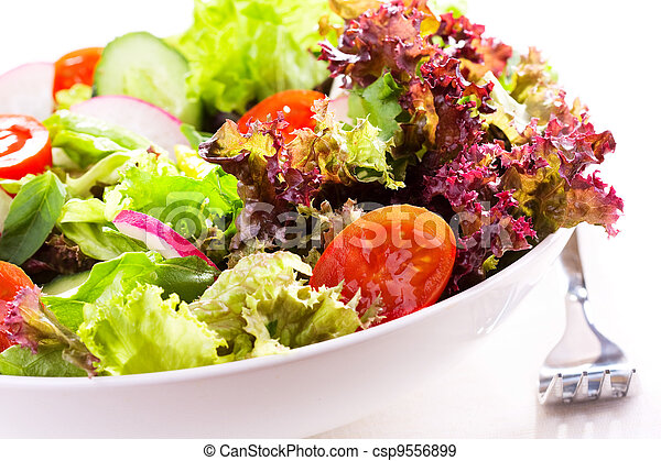 salad with vegetables and greens - csp9556899