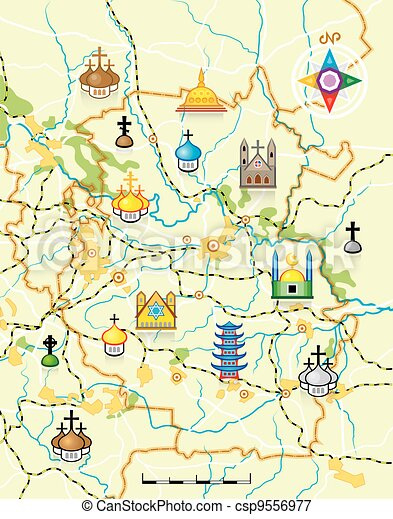 Vector Map of The Country with Religious Landmarks - csp9556977