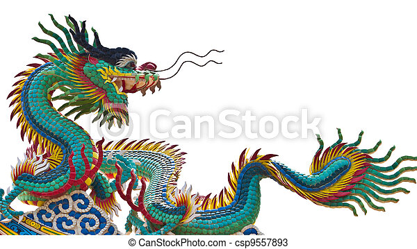 Statue of dragon over white background - csp9557893
