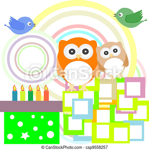 Vector birthday party card with cute owl - csp9558257