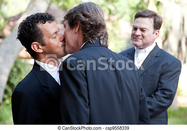 Gay Marriage - Kiss the Groom - csp9558339
