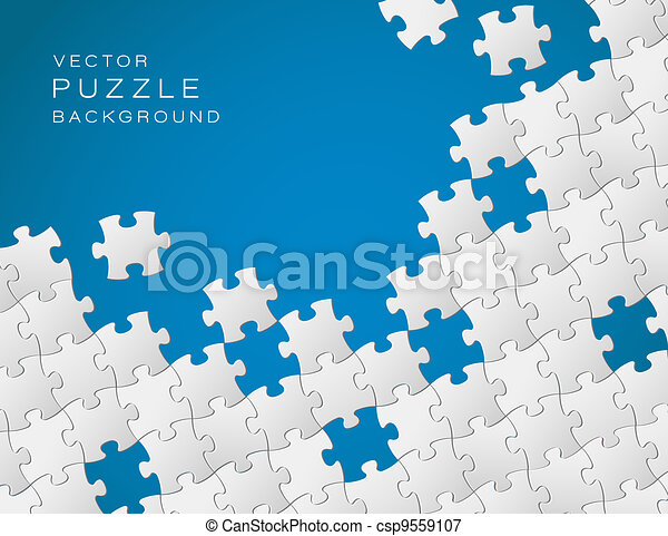 Vector blue background made from white puzzle pieces - csp9559107