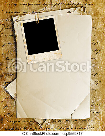 Vintage background with old paper, letters and photos - csp9559317