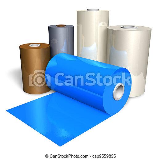 Rolls of color plastic tape - csp9559835