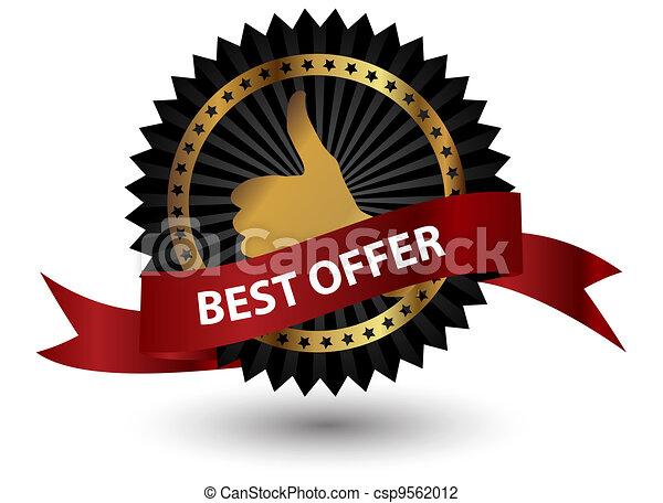 Vector Best Offer label with red ribbon. - csp9562012