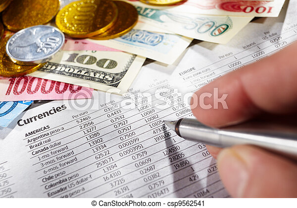 Observing foreign exchange sheet - csp9562541