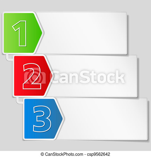 Paper banner with three steps - csp9562642