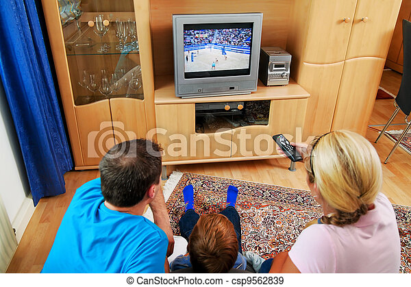 family watching television - csp9562839
