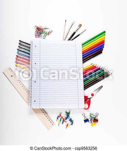 School tools over white background - csp9563256