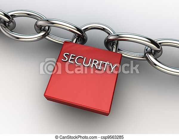 red security lock securing two chains - csp9563285