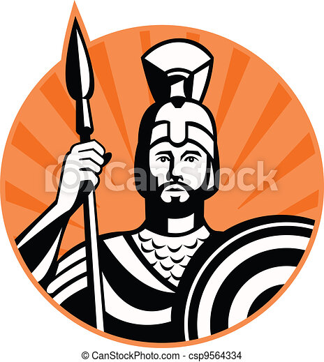 Roman Centurion Soldier With Spear And Shield - csp9564334