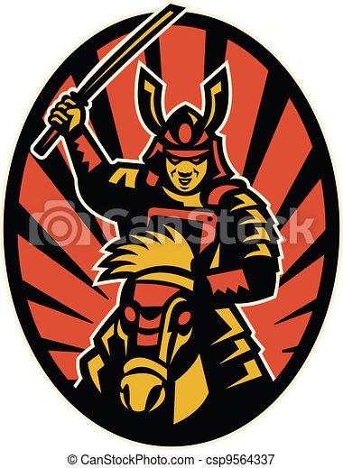 Samurai Warrior Riding Horse Katana - csp9564337